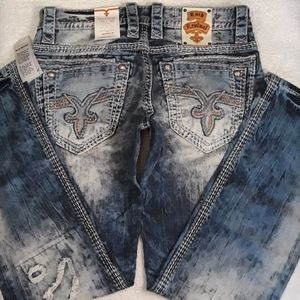 "🎸🔥Rock Revival ""Slim Straight"" Jeans Size 33x34"